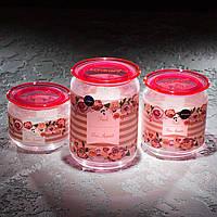 """Набор банок для сыпучих продуктов """"Jar Plano Rosettes Pink""""(1л;0,75л; 0,5л) 3 шт."""