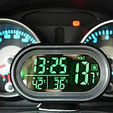 Часы автомобильные VST-7009V с индикацией заряда АКБ (Вольтметр), и двумя термо датчиками (3803), фото 8