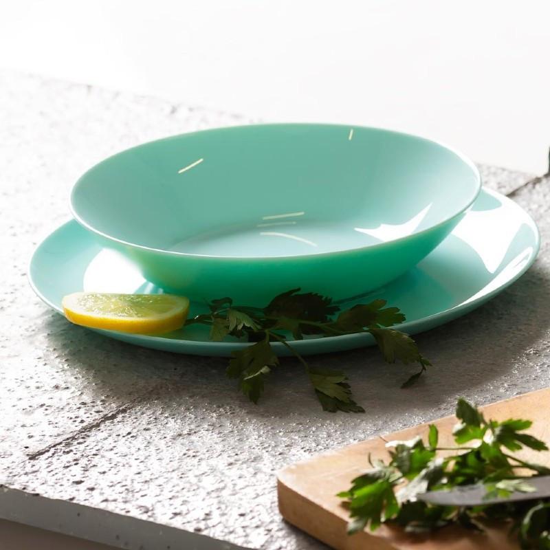 Голубая гладкая тарелка для первых блюд Luminarc Diwali Light Turquoise 200 мм (P2019)