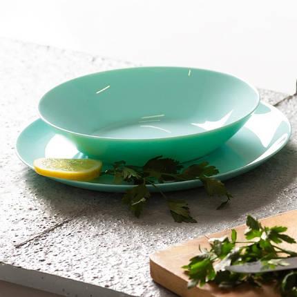 Голубая гладкая тарелка для первых блюд Luminarc Diwali Light Turquoise 200 мм (P2019), фото 2