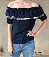 Женская кофта/блуза на плечики, темно-синяя, S-L, фото 1
