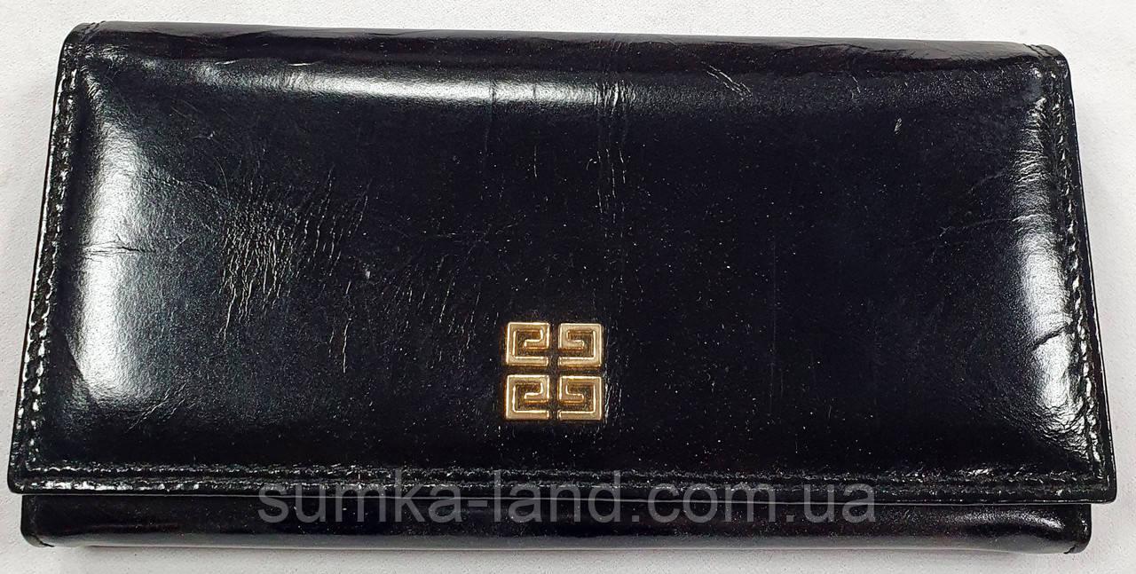 Женский черный кошелек из натуральной кожи на кнопке Danica (Живанши)
