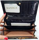 Женский черный кошелек из натуральной кожи на кнопке Danica (Живанши), фото 3