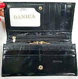 Женский черный кошелек из натуральной кожи на кнопке Danica (Живанши), фото 4