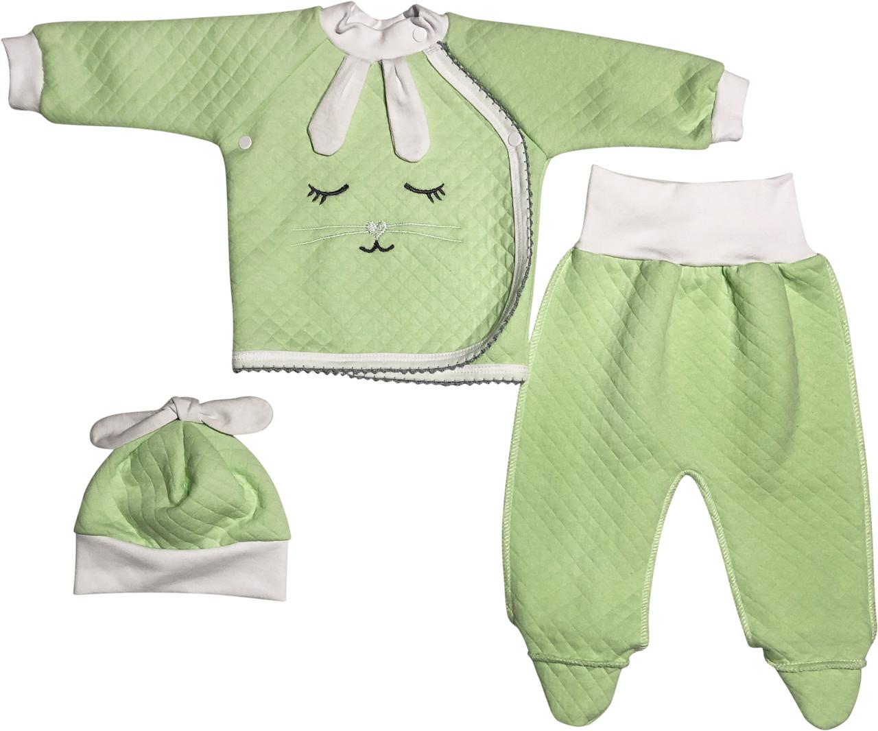 Детский костюм рост 62 2-3 мес трикотажный капитон салатовый костюмчик на мальчика девочку комплект для новорожденных малышей С986