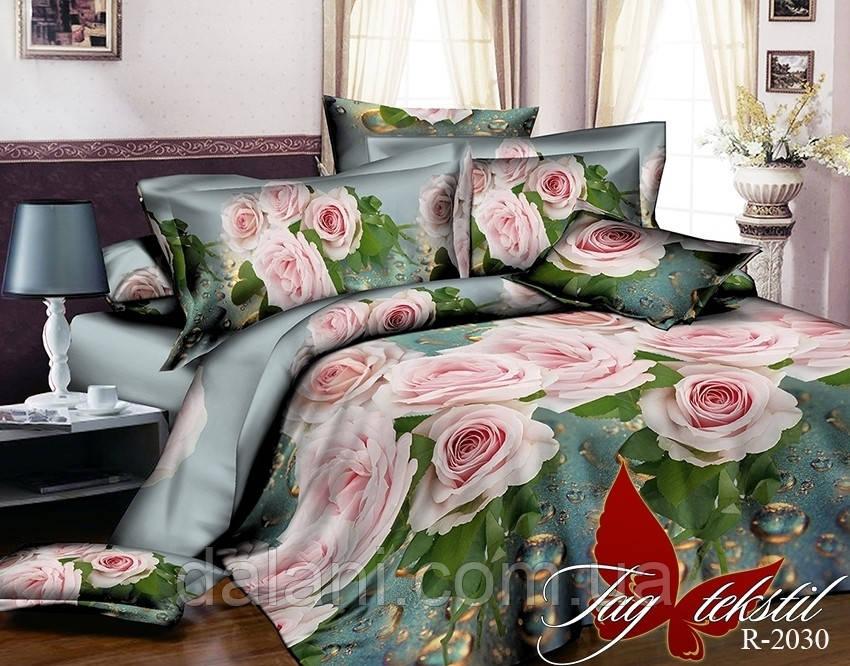 Полуторный комплект постельного белья из Ренфорса цветы