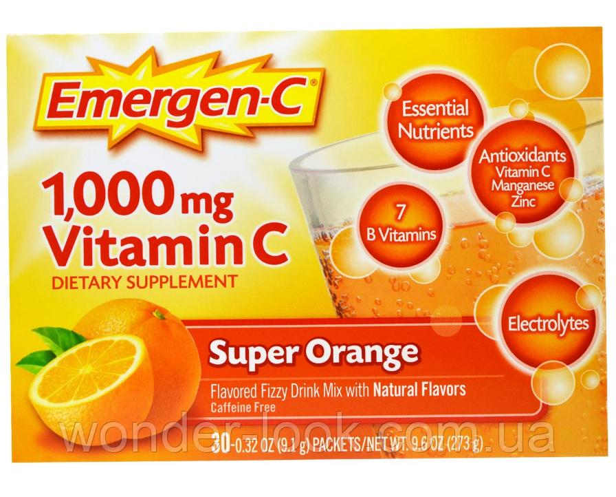 Emergen-C, Super Orange, витамин С, 1000 мг, апельсин, 30 пакетиков, 9,1 г (0,32 унции) каждый
