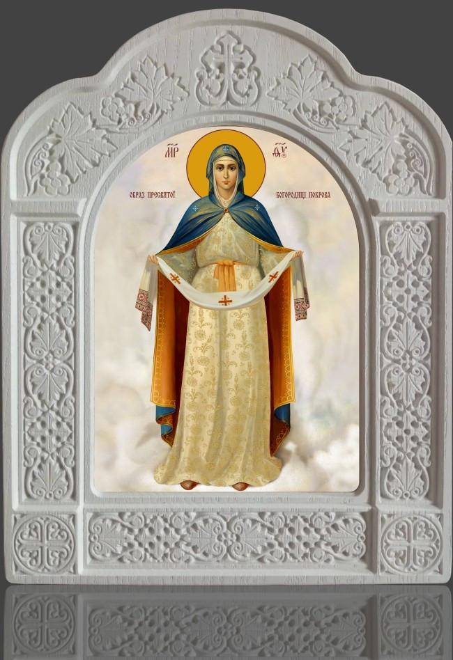 """Ікона """"Покрова"""" Пресвятої Богородиці в новому кіоті з ясена 28х22см"""