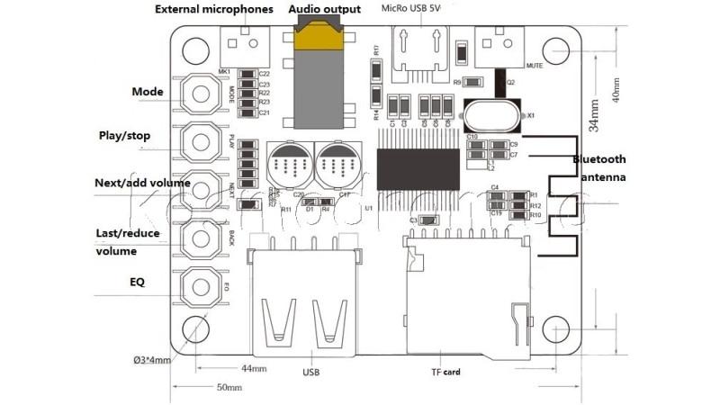Плата Bluetooth MP3 беспроводной аудио приемник 3.7V Micro USB (12303) 4