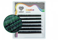 Ресницы Lovely двухтоновые зелёные MINI - 6 линий - Mix
