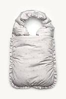 Зимний конверт-спальник, конверт-одеяло для новорожденных деток, серый в звезды.