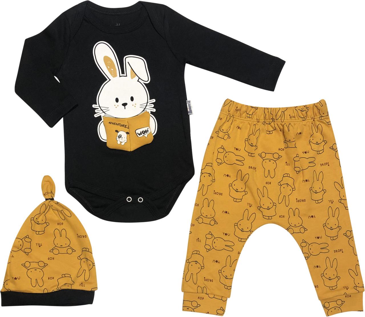 Дитячий костюм зростання 62 2-3 міс трикотажний помаранчевий костюмчик на хлопчика комплект для новонароджених малюків ТН190