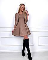 Женское модное платье замш на дайвинге с коротким рукавом (мокко)