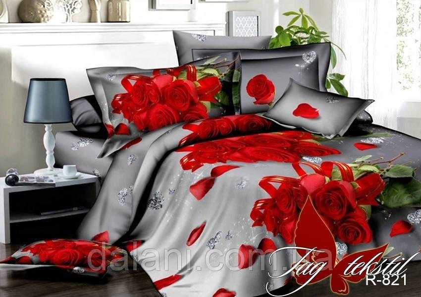Полуторный комплект постельного белья из Ренфорса с розами