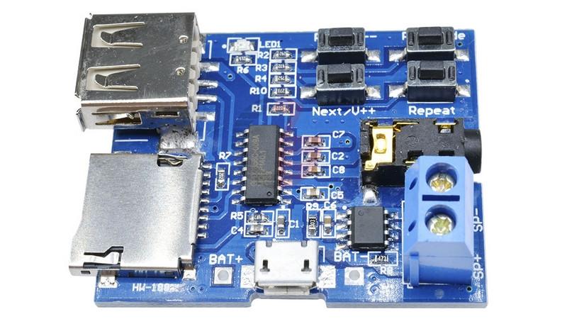 Плата стерео аудио плеер MP3 декодер USB micro SD (11123) 2