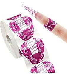 Формы для моделирования ногтей 100шт - Бумажные Формы для Наращивания Ногтей Широкие Прямые Розовые Цветы
