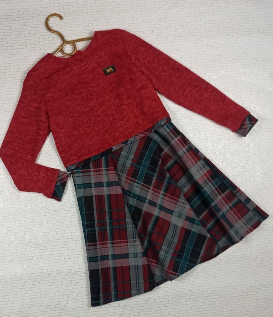 Красное платье в клетку на девочку. На рост 128 134 140 146 см. Украина