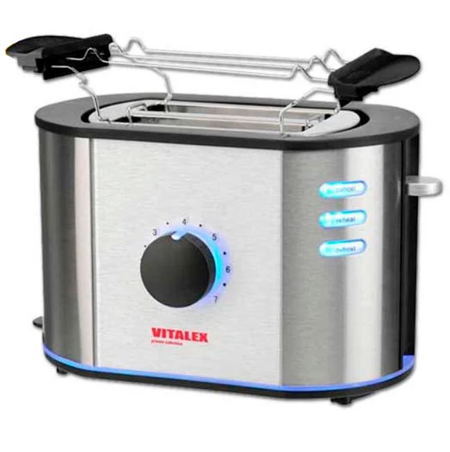 Тостер Vitalex Pro steel edit VL, 2 отделения, мощность 730Вт, VL-5019, стальной цвет