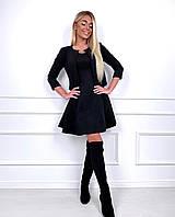 Женское модное платье замш на дайвинге с коротким рукавом (чёрный)