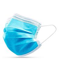Медицинские маски с зажимом для носа, голубые СМС (50 шт)
