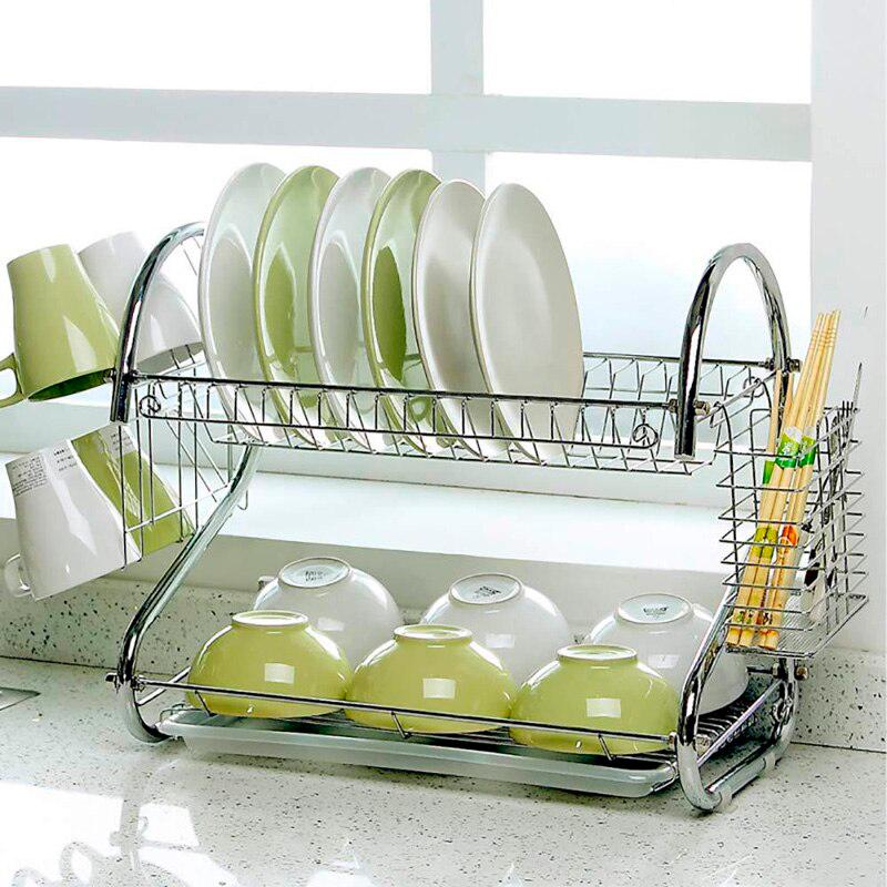 Стойка для сушки посуды Kitchen storage rack, нержавеющая сталь, карман для ложек и вилок