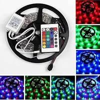 Светодиодная лента LED 3528 RGB 5м с пультом и блоком питания, лента-гирлянда