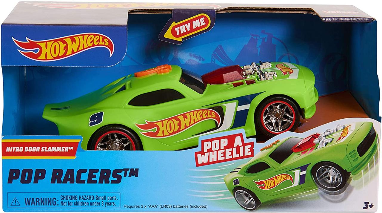 Машинка Хот Вилз свет, звук, движение 18 см. Hot Wheels Poppin Wheelie Cars Nitro Door Slamme, Оригинал из США