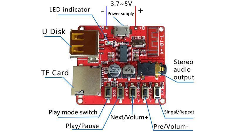 Модуль декодер MP3 Bluetooth 4.1 аудио приемник с USB (15871) 4