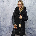 Жіночий пуховик Evacana E20-W014M. Жіноча довга куртка з хутром Лами., фото 2