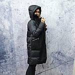 Жіночий пуховик Evacana E20-W014M. Жіноча довга куртка з хутром Лами., фото 4