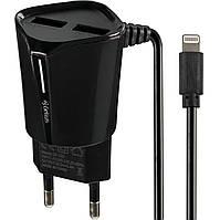 Сетевое зарядное устройство Gelius Pro Edition Auto ID 2USB 2.4A Black с кабелем Apple Lightning