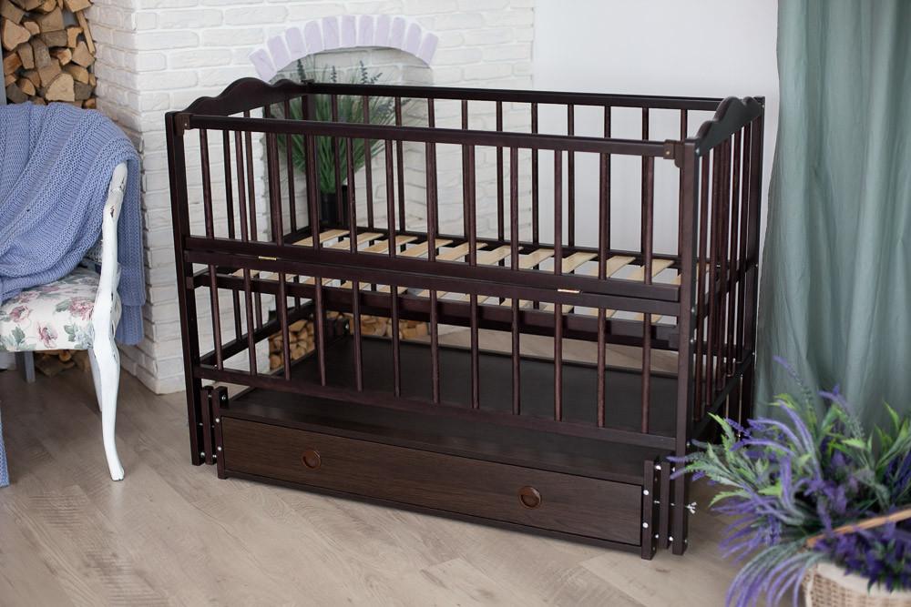 Ліжечко дитяче Ангеліна тмКузя шарнір-підшибн.з відкидною боков+шухляда, бук (Венге)