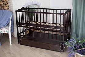 Ліжечко дитяче Ангеліна тмКузя шарнір-підшибн.з відкидною боків+шухляда, бук (Венге)