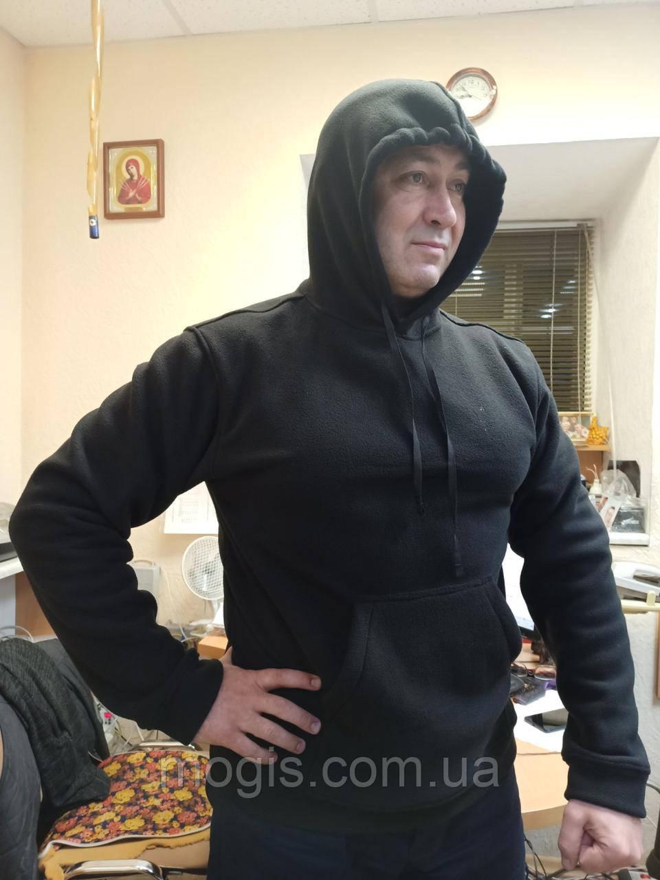 Толстовка флисовая с капюшоном и карманом кенгуру(цвет черный, серый, олива, темносиний)