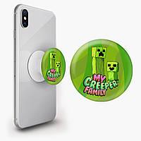 Попсокет (Popsockets) держатель для смартфона Майнкрафт (Minecraft) (8754-1176)
