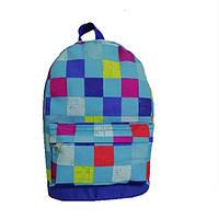 Рюкзак детский городской в клетку голубой (224-2), фото 1