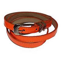 Ремень узкий женский лаковый ярко-оранжевый, фото 1