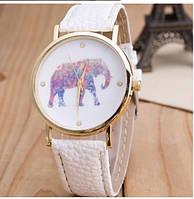 Женские наручные часы Geneva на белом ремешке с изображением слона на циферблате