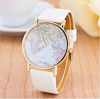 Женские наручные часы GENEVA на белом ремешке с изображением карты мира на циферблате