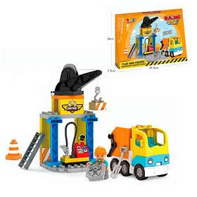 Конструктор JDLT 5439  стройплощадка, кран, мусоровоз,фигурка,36дет,в кор-ке, 39,5-28-8см