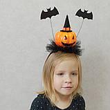 Обруч з гарбузом та летючими мишами для дівчаток до свята Хеллоуїну, фото 2