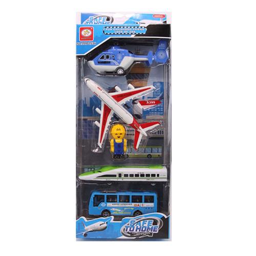 Набор транспорта 399-253K автобус,поезд,самолет,вертолет,фигурка,на листе, 16,5-41,5-5см