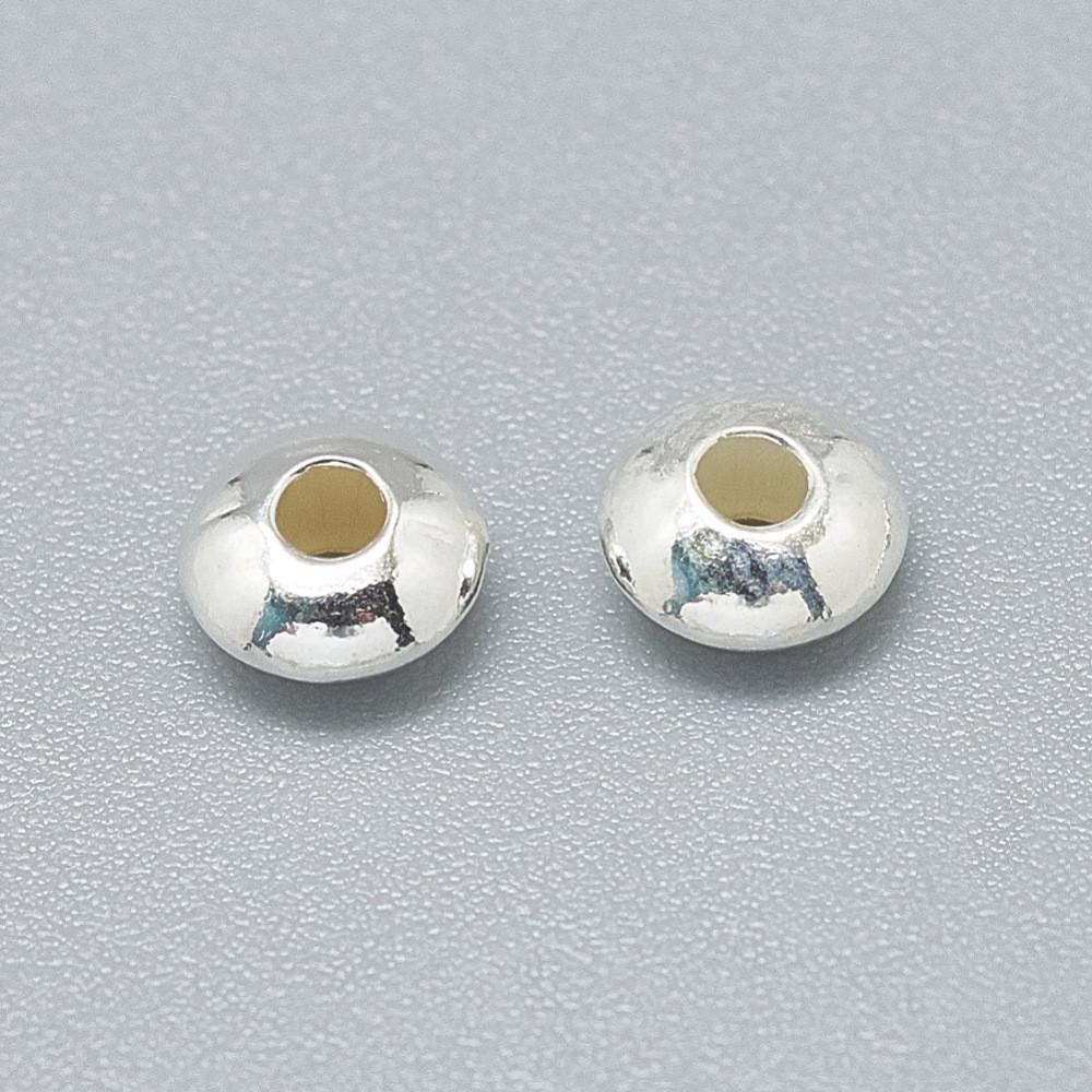 Металлическая бусина плоская 5 мм из серебра 925 для рукоделия
