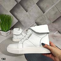 Белые зимние женские ботинки натуральная кожа, фото 1