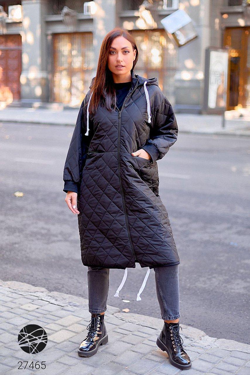 Стеганая куртка на молнии черного цвета. Модель 27465. Размеры 50-64