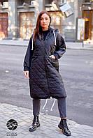 Стеганая куртка на молнии черного цвета. Модель 27465. Размеры 50-64, фото 1
