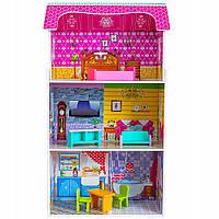 Кукольный домик (95 см) с мебелью Bambi MD 1549 | Деревянный 3х этажный домик для кукол