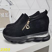 Сникерсы кроссовки черные с танкеткой на платформе со змейкой, фото 3