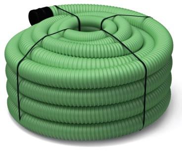 Труба дренажная d 160мм, PE DRENCOR в бухтах, зеленая, перфорированная