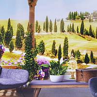 Фотообои виниловые на флизелине расширяющие пространство вид на сад